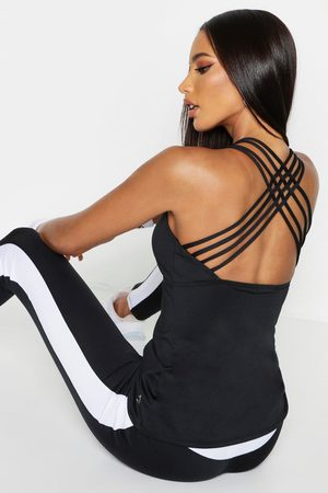 Boohoo Womens Fit Strappy Back Running Tank Top - - 2