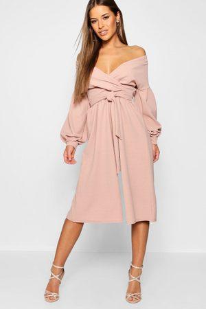 Boohoo Womens Petite Off The Shoulder Wrap Culotte Jumpsuit - - 4