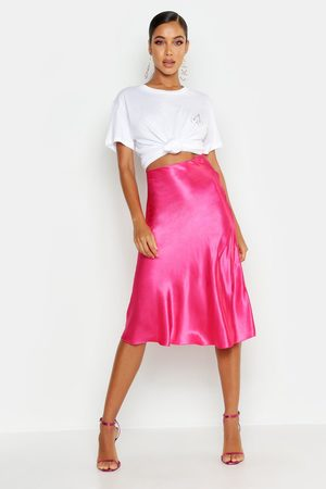 Boohoo Womens Satin Bias Cut Slip Midi Skirt - - 2