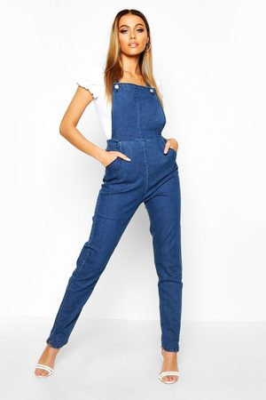 Boohoo Womens Slim Fit Denim Overalls - - 2