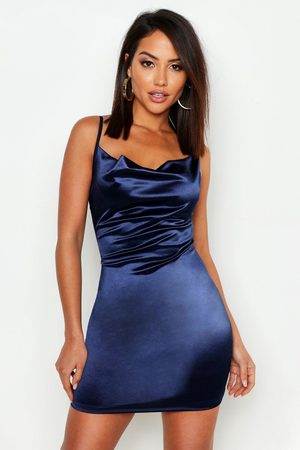 Boohoo Womens Satin Cowl Front Bodycon Dress - - 6