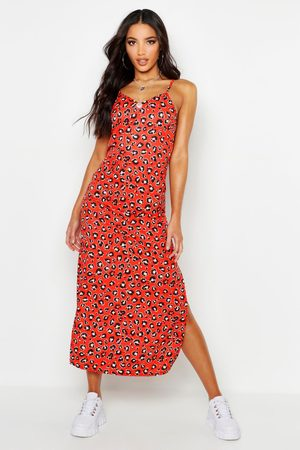 Boohoo Womens Woven Leopard Maxi Slip Dress - - 4