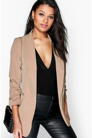 Boohoo Womens Ruched Sleeve Blazer - - S