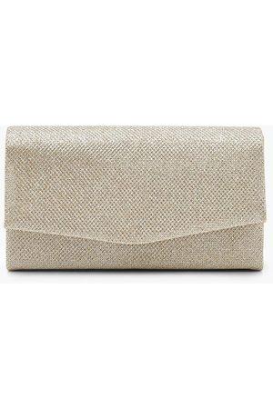 Boohoo Womens Glitter Envelope Clutch Bag And Chain - - One Size
