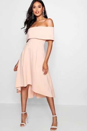 Boohoo Womens Off The Shoulder Dip Hem Skater Dress - - 4