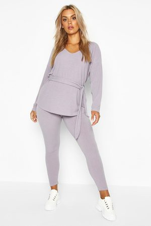 Boohoo Womens Plus Soft Rib Tie Waist Top & Legging Co-Ord - - 12