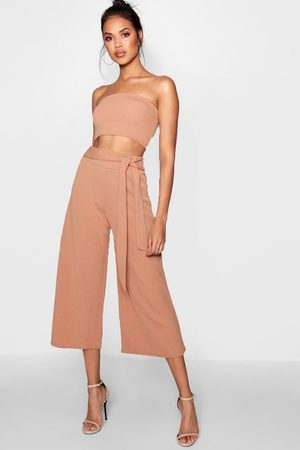 Boohoo Womens Tie Waist Culotte Co-Ord Set - - 2