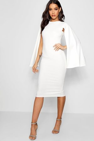 Boohoo Womens Cape Sleeve Bodycon Midi Dress - - 8