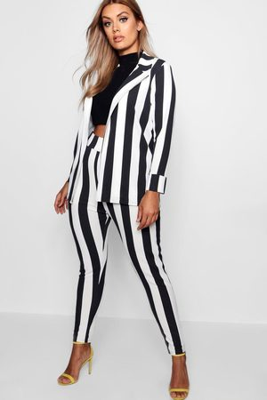Boohoo Womens Plus Striped Suit Two-Piece - - 12