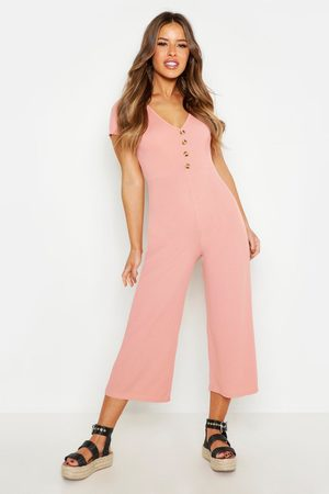 Boohoo Womens Petite Rib Mock Horn Button Culotte Jumpsuit - - 2