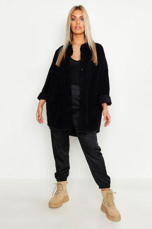 Boohoo Womens Plus Raw Edge Oversized Cord Shirt - - 12