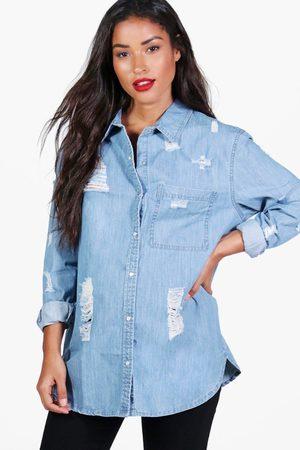 Boohoo Womens Maternity Ultra Distressed Oversized Denim Shirt - - 4