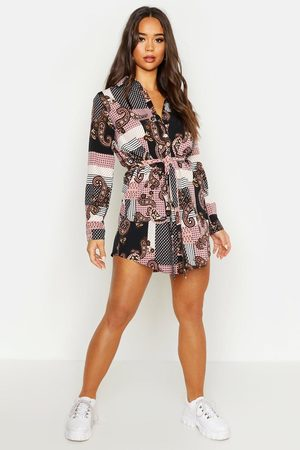 Boohoo Women Casual Dresses - Womens Paisley Shirt Dress - - 4