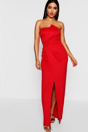 Boohoo Womens Bandeau Wrap Detail Maxi Dress - - 2