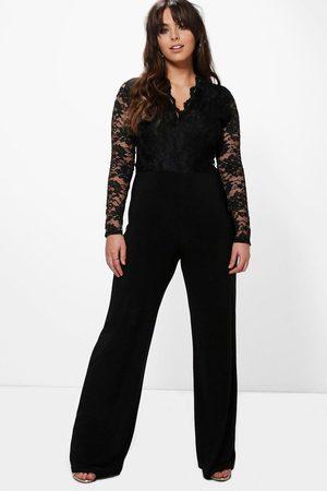 Boohoo Womens Plus Long Sleeve Lace Top Slinky Jumpsuit - - 12