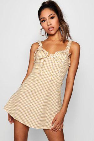 Boohoo Womens Ruffle Shoulder Gingham Mini Dress - - 4