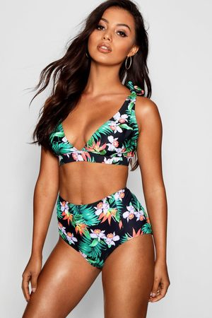 Boohoo Womens Spain Mix & Match Tropical High Waist Bikini Brief - - 2