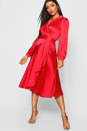 Boohoo Women Midi Dresses - Womens Satin Wrap Detail Midi Skater Dress - - 4