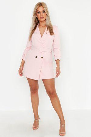 Boohoo Womens Plus Double Breast Gold Button Blazer Dress - - 12