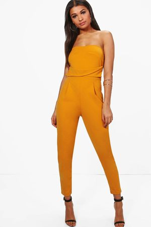 Boohoo Womens Bandeau Tailored Woven Slim Fit Jumpsuit - - 4