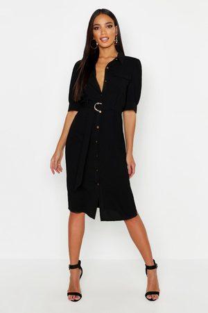 Boohoo Womens Puff Sleeve Utility Midi Shirt Dress - - 4