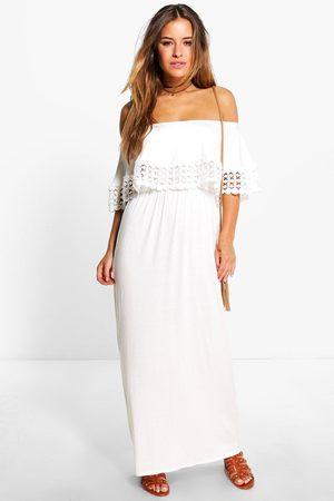 Boohoo Womens Petite Off The Shoulder Trim Detail Maxi Dress - - 2