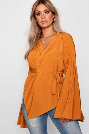 Boohoo Womens Plus Wide Sleeve Wrap Tie Blouse - - 12
