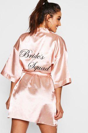 Boohoo Womens Brides Squad Satin Robe - - S
