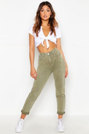 Boohoo Womens High Waist Distressed Rigid Mom Jeans - - 2