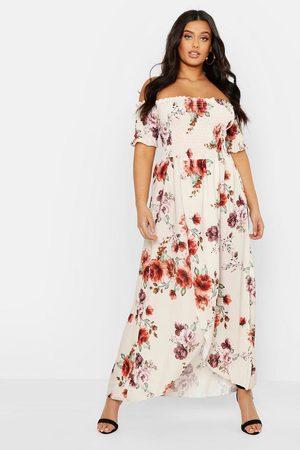 Boohoo Womens Plus Floral Off Shoulder Maxi Dress - - 12