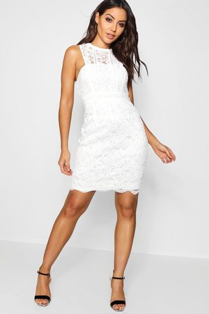 Boohoo Womens Boutique Lace Racer Neck Bodycon Dress - - 10