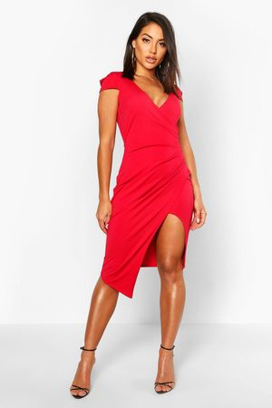 Boohoo Womens Cap Sleeve Wrap Midi Dress - - 2