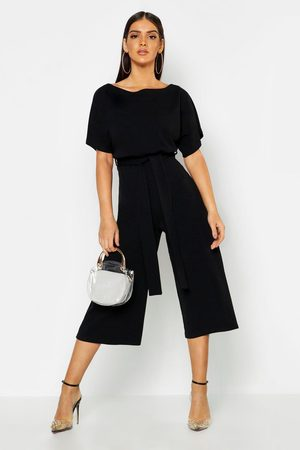 Boohoo Womens Slash Neck Tie Waist Culotte Jumpsuit - - 2