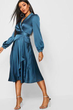 Boohoo Women Midi Dresses - Womens Satin Wrap Detail Midi Skater Dress - - 6
