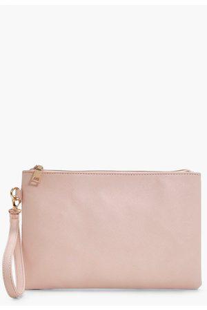 Boohoo Womens Cross Hatch Zip Top Clutch Bag - - One Size