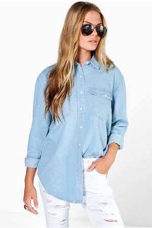 Boohoo Womens Oversize Bleach Wash Denim Shirt - - 2