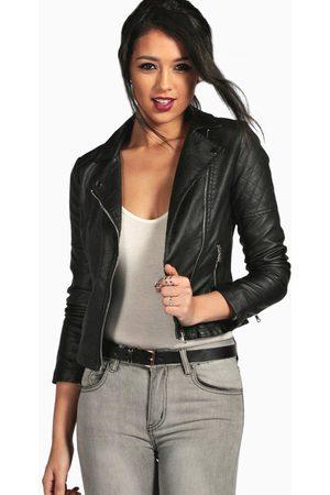 Boohoo Womens Faux Leather Biker Jacket - - S