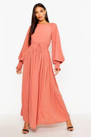 Boohoo Womens Shirred Waist & Cuff Woven Maxi Dress - - 4