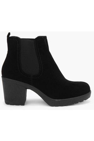 Boohoo Womens Block Heel Suedette Chelsea Boots - - 5