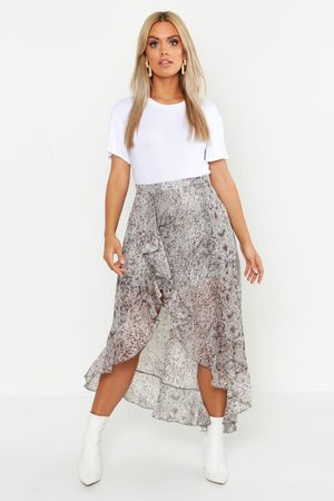 Boohoo Womens Plus Snake Print Ruffle Skirt - - 12
