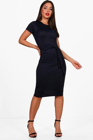 Boohoo Womens Pleat Front Belted Tailored Midi Dress - - 4