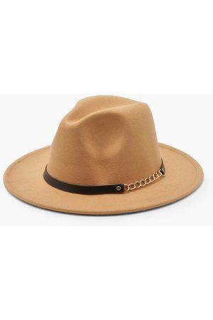 Boohoo Womens Chain Detail Fedora Hat - - One Size