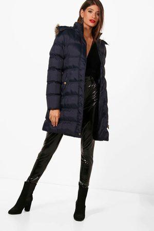 Boohoo Womens Longline Padded Hooded Jacket - - 4