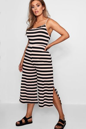 Boohoo Womens Plus Striped Culotte Jumpsuit - - 12