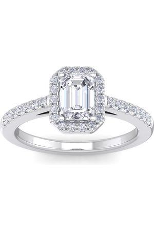 SuperJeweler 1.5 Carat Emerald Cut Halo Diamond Engagement Ring in 14K (4.20 g)