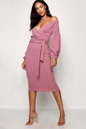 Boohoo Womens Tall Off The Shoulder Wrap Midi Bodycon Dress - - 4