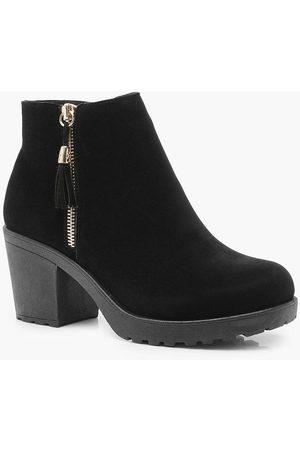 Boohoo Womens Wide Fit Suedette Zip Side Chunky Heel Chelsea Boots - - 5