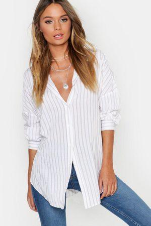 Boohoo Womens Oversized Split Side Cotton Feel Stripe Shirt - - 2