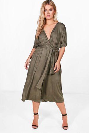 Boohoo Womens Plus Jersey Kimono Sleeve Wrap Jumpsuit - - 12