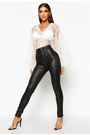 Boohoo Womens High Waist Matte Faux Leather Skinny Pants - - 2